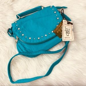 Like dreams crossbody purse teal zipper flap